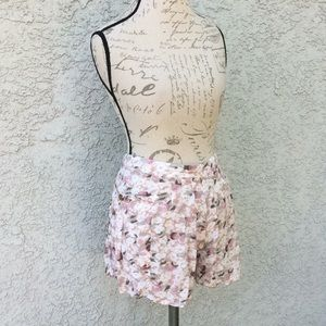 Free People Pink Floral Casual Pleated Shorts